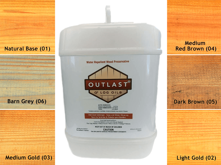 Q8 Log Oil 5 gallon container with color samples