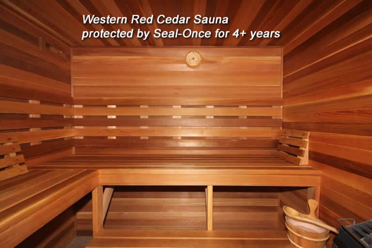 Seal-Once Exotic Premium Wood Sealer on sauna interior
