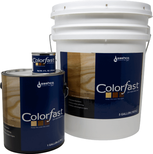 Colorfast Pre-Stain Base Coat containers